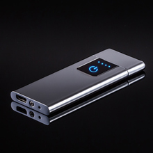 Cigarette Lighters Windproof Flameless Ultra-thin USB Rechargeable Touch-senstive Metal Lighter Tungsten Turbo for Smoking