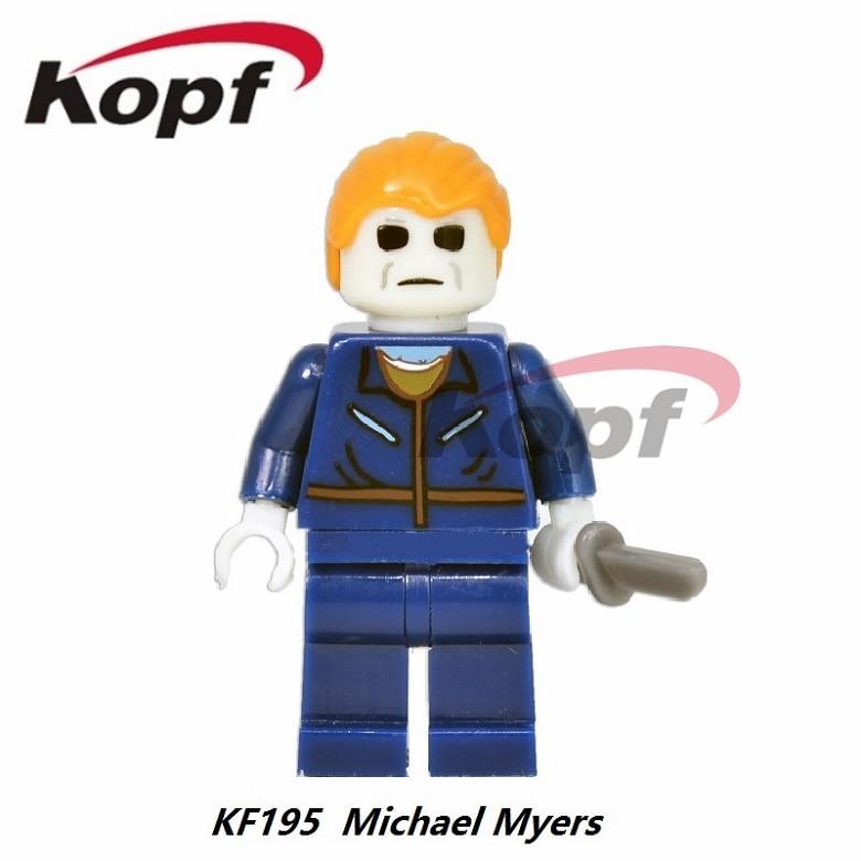 50Pcs KF195 The Horror Theme Movie Michael Myers Carrie Hackey Mask Jason Ring Hannibal Building Blocks Bricks Toys for children
