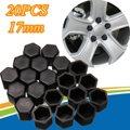 20 unids 17mm Protector del Estirón de la Rueda Tuerca Perno Hexagonal de Silicona Negro Cubierta de la Tapa Del Vástago de Válvula