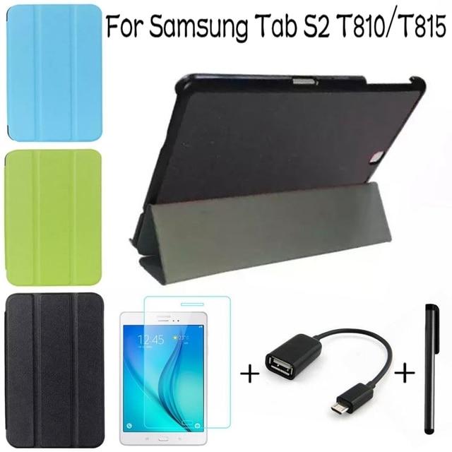 """De Calidad superior S2 Inteligente PU Cubierta de Cuero para Samsung Galaxy Tab 9.7 """"T810 T813 T815 T819 Tablet Case + Free Screen Protector + OTG + Pen"""