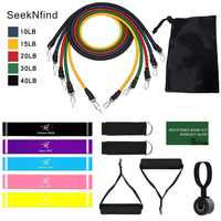 17Pcs Resistance Bands Set Yoga Exercise Fitness Band Rubber Loop Tube Bands Gym Door Anchor Ankle Straps with Bag Elastic Band