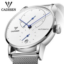 CADISEN Watch Men Full Steel Automatic Self Wind Male Clock Mechanical Power Reserve Watch Fashion Casual Mesh Band Wristwathes
