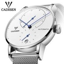 CADISEN zegarek męski pełny stalowy automatyczny samonośny męski zegar mechaniczny rezerwa chodu zegarek moda swobodna siateczka opaska na rękę