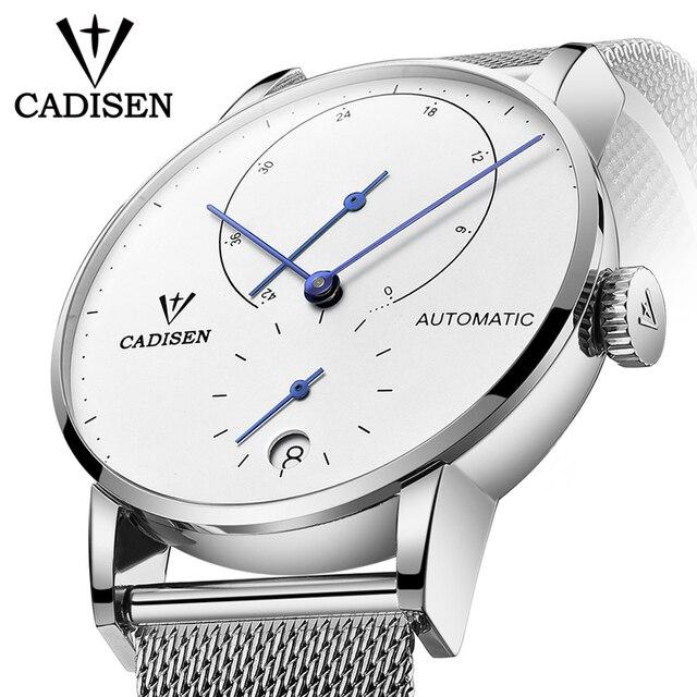 Cadisen relógio masculino de aço completo automático auto vento relógio mecânico de reserva de energia moda casual malha banda wristwathes