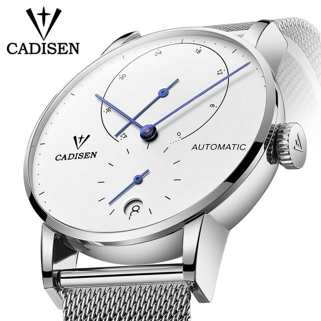 Cadison montre automatique en acier, horloge automatique, réserve électrique, bracelet décontracté Mesh, tendance