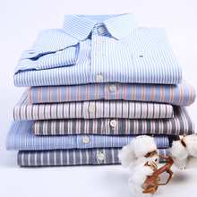 Original Aoliwen brand men Long sleeved solid stripes Oxford Square collor Shirt 2019 Spring and autumn smart casual shirt