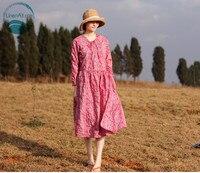 LinenAll оригинальный для женщин розовый/белый весеннее платье с полный экран вышивка V воротник перекрытия сбоку кружево