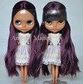 Бесплатная доставка, Обнаженная блит куклы, Глубокий фиолетовые волосы, Deepskin, Большой глаз куклы, Мода кукла подходит для diy-коричневых изменение bjd, Для подарка девушке