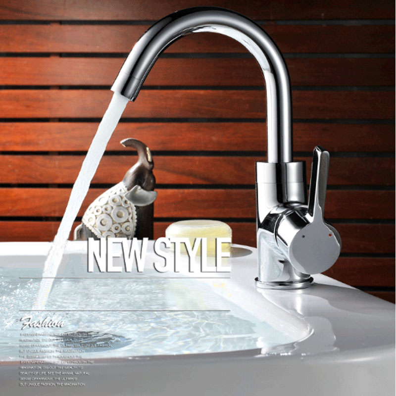Deck Mounted Brass Single Handle Bathroom Sink Faucets Mixer Basin Faucet Hot And Cold Water Tap Single Hole Chrome pull down deck mounted single handle single hole chrome finish bathroom basin faucet sink mixer tap
