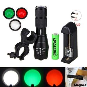 Image 2 - Xm l t6 led 조정 가능한 초점 토치 백색 녹색 빨강 zoomable 초점 5000 루멘 전술 플래쉬 등 사냥 빛 고성능 손전등