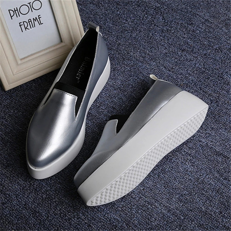 Spring Autumn Women Leather Loafers Fashion ballet flats sliver white black Shoes Woman Slip On loafers boat shoes Moccasins jx3 jingkubu 2017 autumn winter women ballet flats simple sewing warm fur comfort cotton shoes woman loafers slip on size 35 40 w329