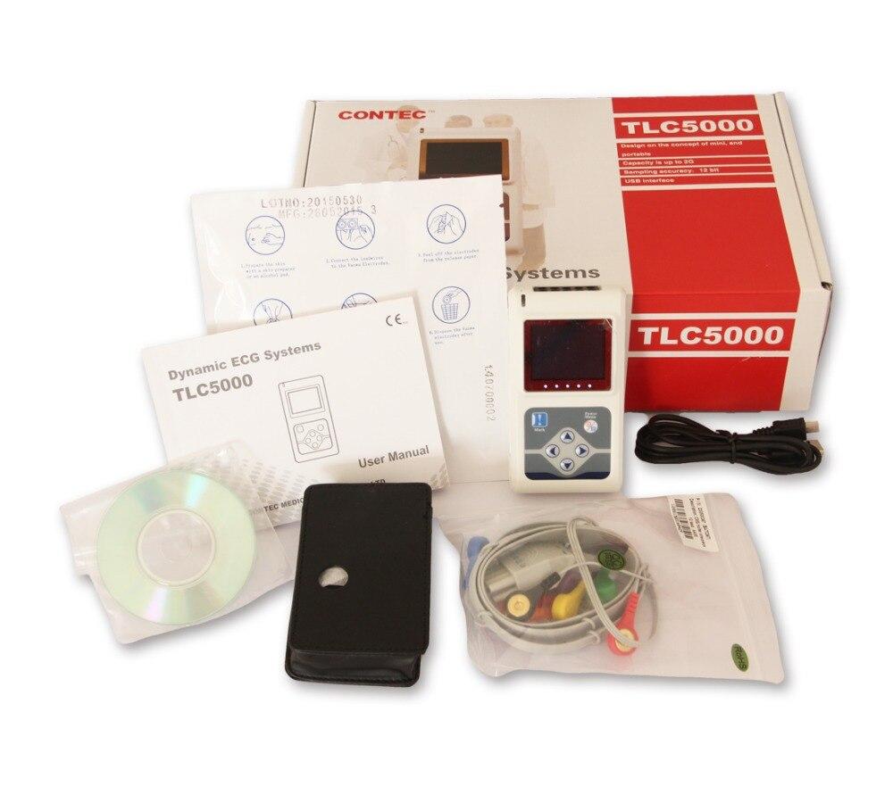 Fabricante grátis 12 Canais Contec TLC5000 Hand-held Contec ECG/EKG Holter Recorder Sistema CE FDA Certificado