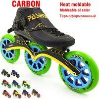 Профессиональный Heat moldable углерода inline скорость skate 3 колеса 125 мм Встроенные роликовые коньки скорость человек женщин rolki