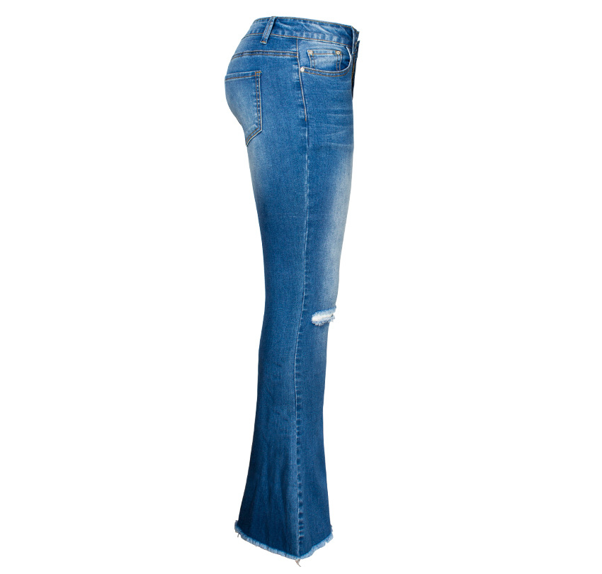 Women\`s dress of Europe and America 2018 new wide leg trousers jeans denim flared trousers women\`s worn-out edge trousers (16)