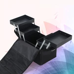 Image 4 - Valise professionnelle pour boîte de maquillage, trousse de rangement pour maquillage et cosmétiques à fermeture éclair à mallette de rangement pochettes, trousse de toilette et de beauté