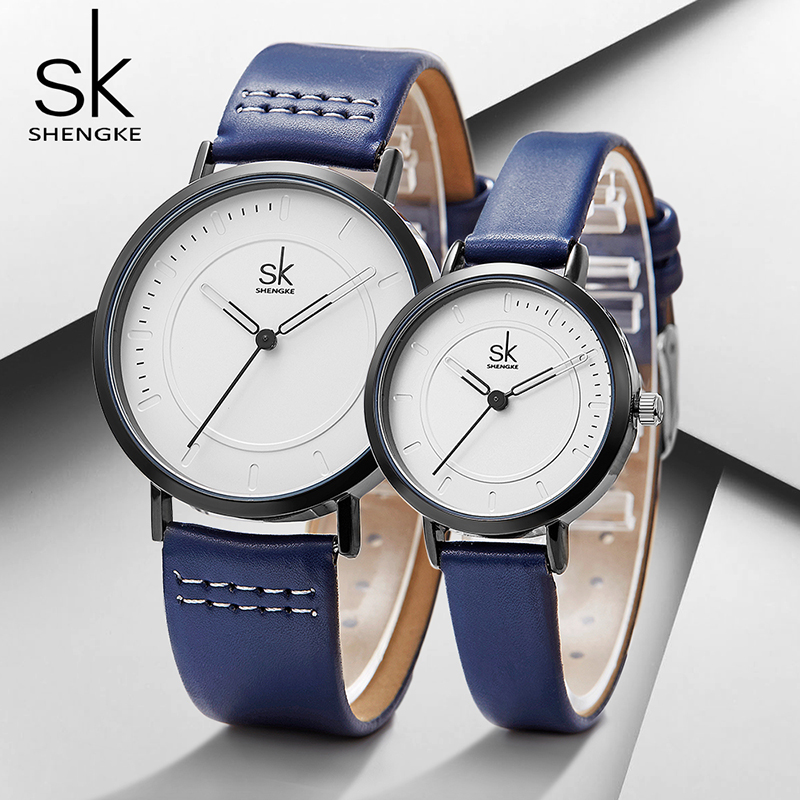Shengke Couple Watches Set 2019 New Fashion Women Men Blue Leather Watches SK Luxury Female Male Quartz Watch Lover Gifts #K8041