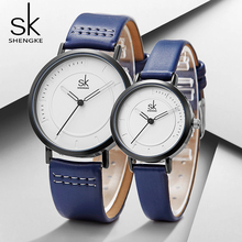 Shengke Couple Watches Set 2019 New Fashion Women Men Blue Leather Watches SK Luxury Female Male Quartz Watch Lover Gifts #K8041 fashion lover watches leather quartz fashion women men couple loves watch casual womens relogio brand watches