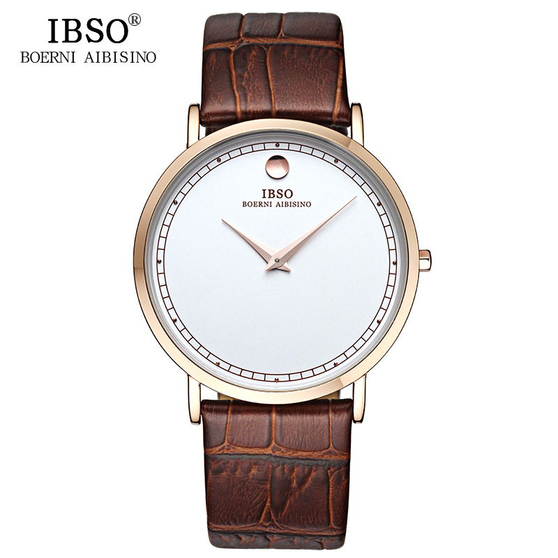 IBSO Ultra Slim Mens Watches 2018 Luxury Brand Genuine Leather Strap Fashion Quartz Watch Men Montre Homme Relogio Masculino ibso outdoor leisure sports watches for men genuine leather band quartz mens watches 2018 fashion waterproof relogio masculino
