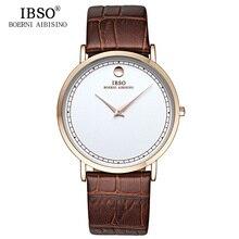 IBSO Ultra Slim Mens Watches 2019 Luxury Brand Genuine Leather Strap Fashion Quartz Watch Men Montre Homme Relogio Masculino