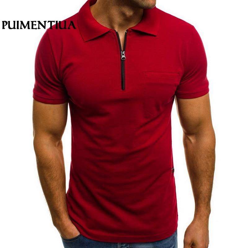 Puimentiua 2019 Summer Men's Casual Solid Short Sleeve   Polo   Shirt Lapel Slim Fit Zipper   Polo   Shirt Pockets Basic Lapel Tops