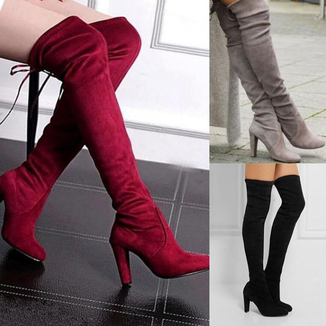 Sexy Block Lace up High Heel Boots Women's Over Knee High ...