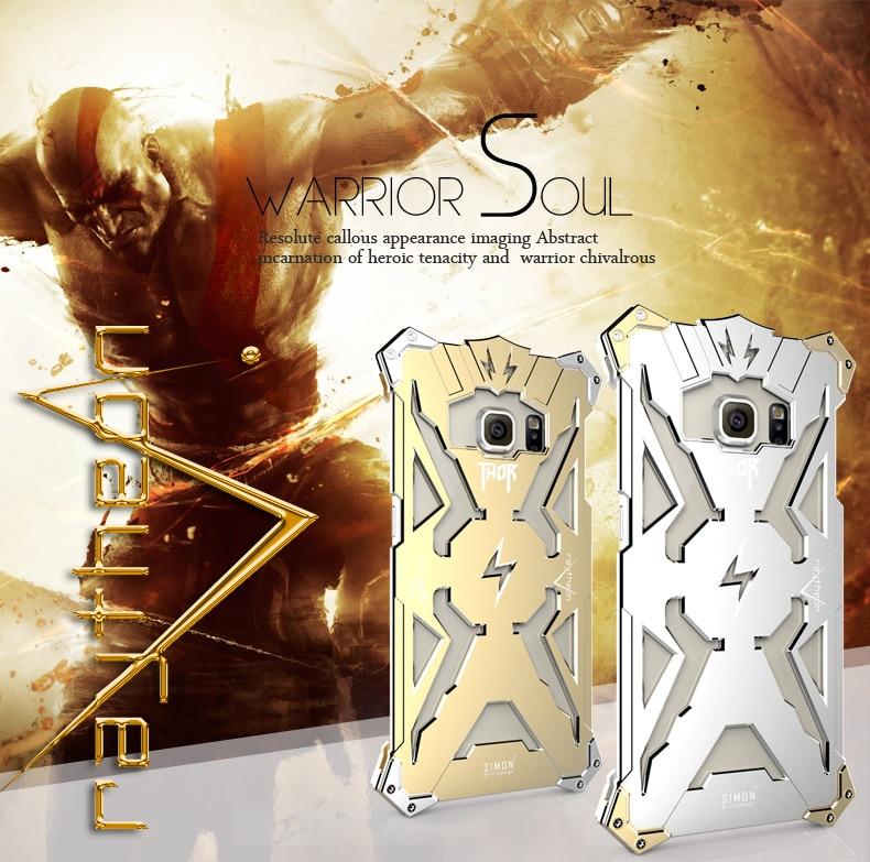 Galleria fotografica Refroidir Thor aluminium Heavy métal cas de téléphone pour Samsung Galaxy S6 cas smartphones de coque de protection de la peau pour Samsung S6