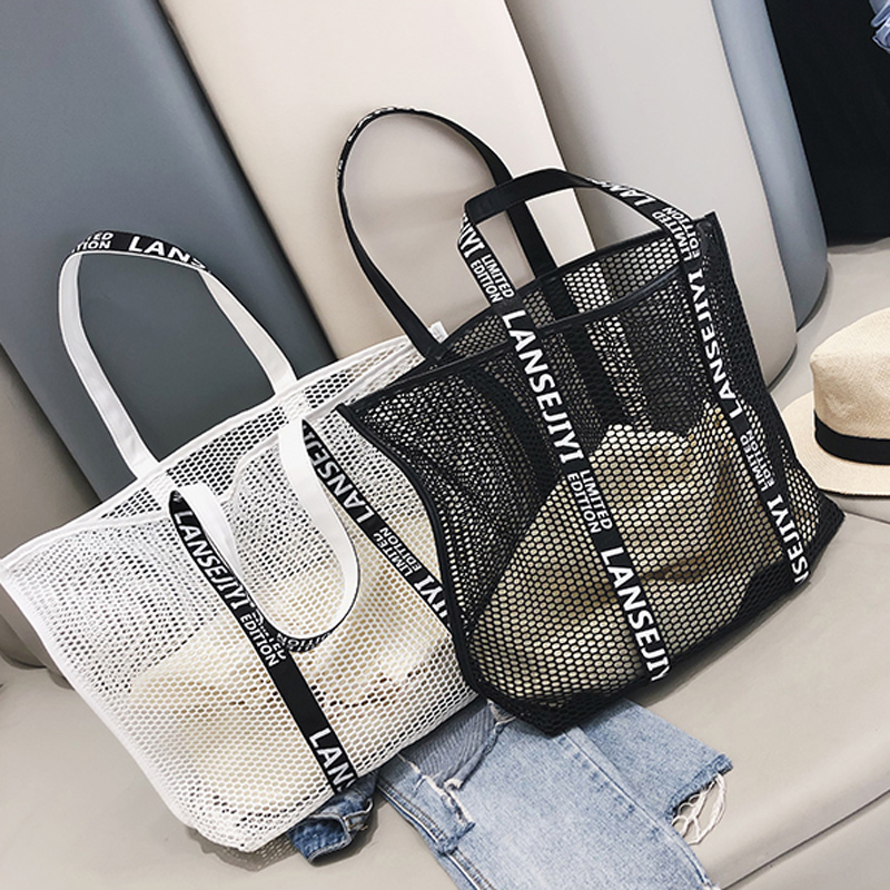 Women Composite Bag Hollow Out Mesh Handbags Ladies Drawstring Tote Famous Brands Casual Beach Bags
