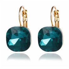 Temperament Micro-inlay Cubic Zirconia Gold Wedding Dangle Earring for Women Trend Multicolor Geometric Zinc Alloy