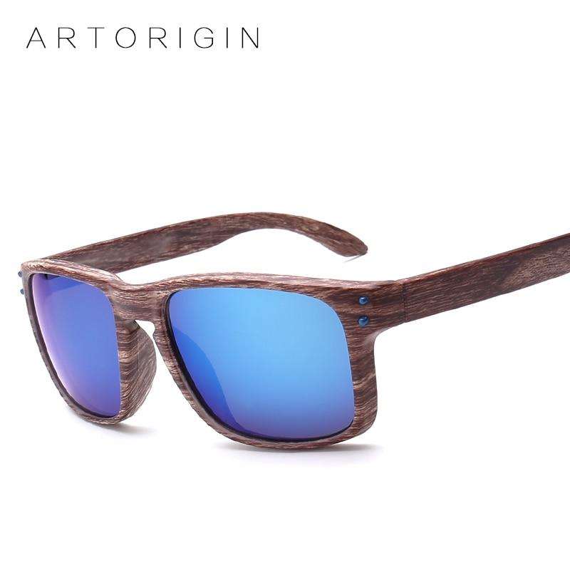 Fashionable Wood Sunglasses Men Reflective Sports Sun Glasses Outdoors Square Eyewear Gafas De Sol