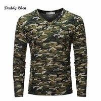 Herbst Military Camouflage t-shirt Männer V-ausschnitt Camo Herren Tops Tees Hombre T-SHIRT armee-grün Kampf Langarm Taktische t-shirt