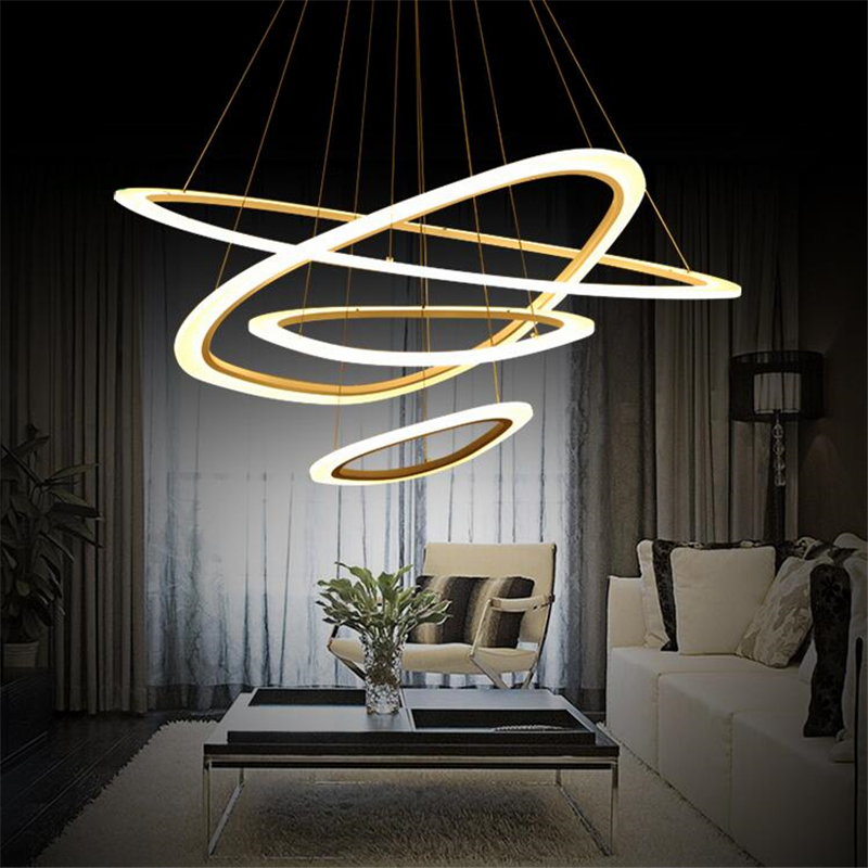 Modern pendant light 43-100CM 10-98W dimmable lustres acrylic ceiling Lamp for Living room bedroom Dining room