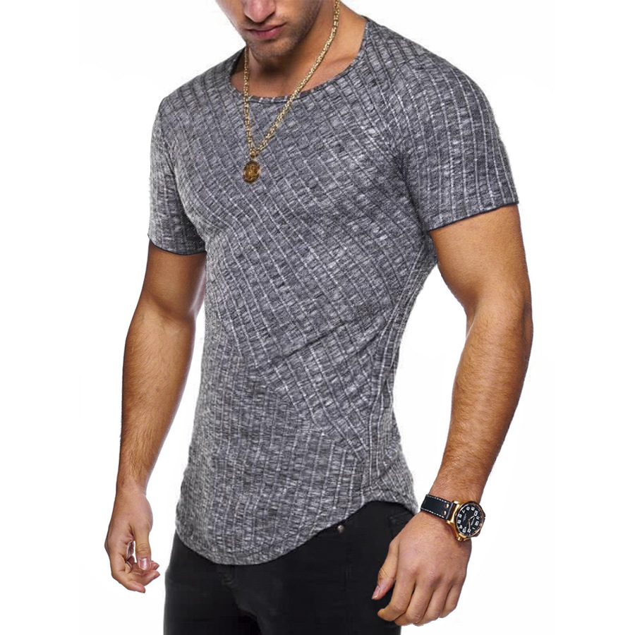 8 Colors Summer Men Short SleeveT Shirt Casual Round Neck Striped Elastic Fit Funny Streetwear Solid Tshirt Hip Hop Tops S-3XL
