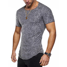 цена на 8 Colors summer Men Short sleeveT Shirt Casual Round Neck Striped Elastic Fit Funny Streetwear Solid Tshirt Hip Hop Tops S-3XL