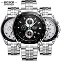 BOSCK Casual Quartz Watch Men 3 Eyes Time Waterproof Stainless Steel Men's Sports Hub Watches Military Watch 3102 reloj hombre