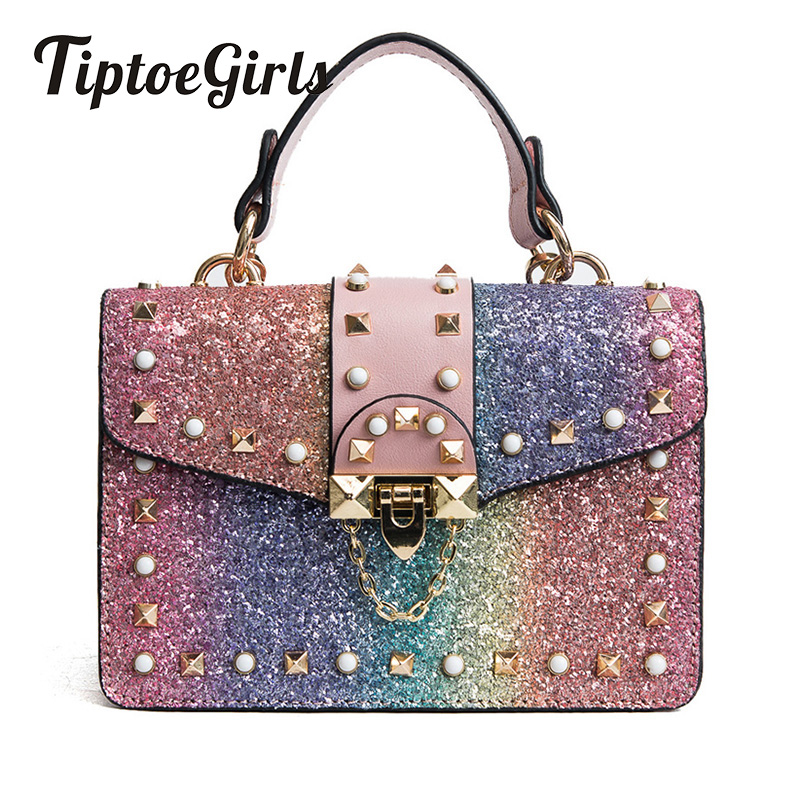 New Korean Version of the Spring Handbag Casual Wild Small Party Bag Personality Fashion Rivet Shoulder Messenger Bag Tide clasp shiny crystal shell handbags korean version of the new fashion personality wild casual shoulder messenger bag