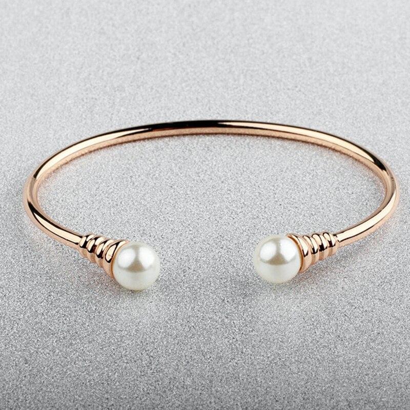 Kraftvoll Baffin Einfache Trendigen Charme Armbänder Stulpearmband Simulierte Kugel Perle Rose Gold Silber Farbe Für Frauen Geschenke Party Zubehör Armreifen