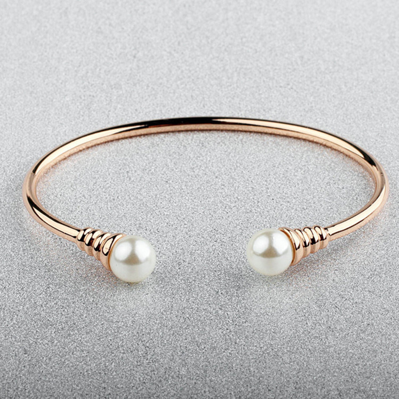 BAFFIN Simple Trendy Charm Bracelets Cuff Bangle Simulated Ball Pearl Rose Gold Silver Color For Women Gifts Party Accessories