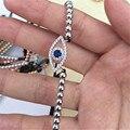 1 unids Nueva Joyería de La Manera Ojos Malvados Rhinestone Ajustable Pulsera Bolas de Cristal Azul de Toma de La Mano Macrame Pulsera Para Niñas