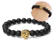 Wholesale Antique Gold Color Buddha Leo Lion Head Bracelet Black Lava Stone Beaded Bracelets For Men Women Pulseras Hombre