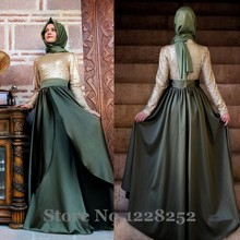 New Fashion Arabic Prom Dresses Long Sleeves High Neck Sequined Floor Length Custom Kaftan Abaya Dubai Muslim Evening Dresses
