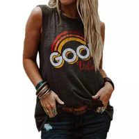 2019 marque T Shirt femmes été Sexy sans manches col rond décontracté lâche T-shirt mode bonnes vibrations lettre imprimer dames hauts et t-shirts
