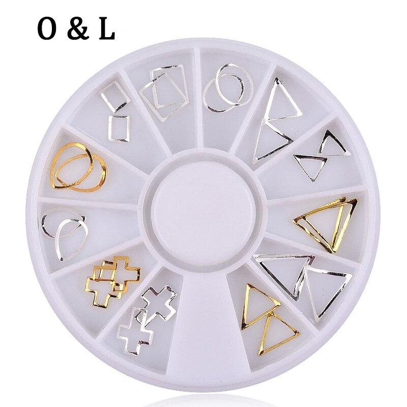 New 24pcs set Gold Silver 3D Hollow Metal font b Nail b font Art Decoration Wheel