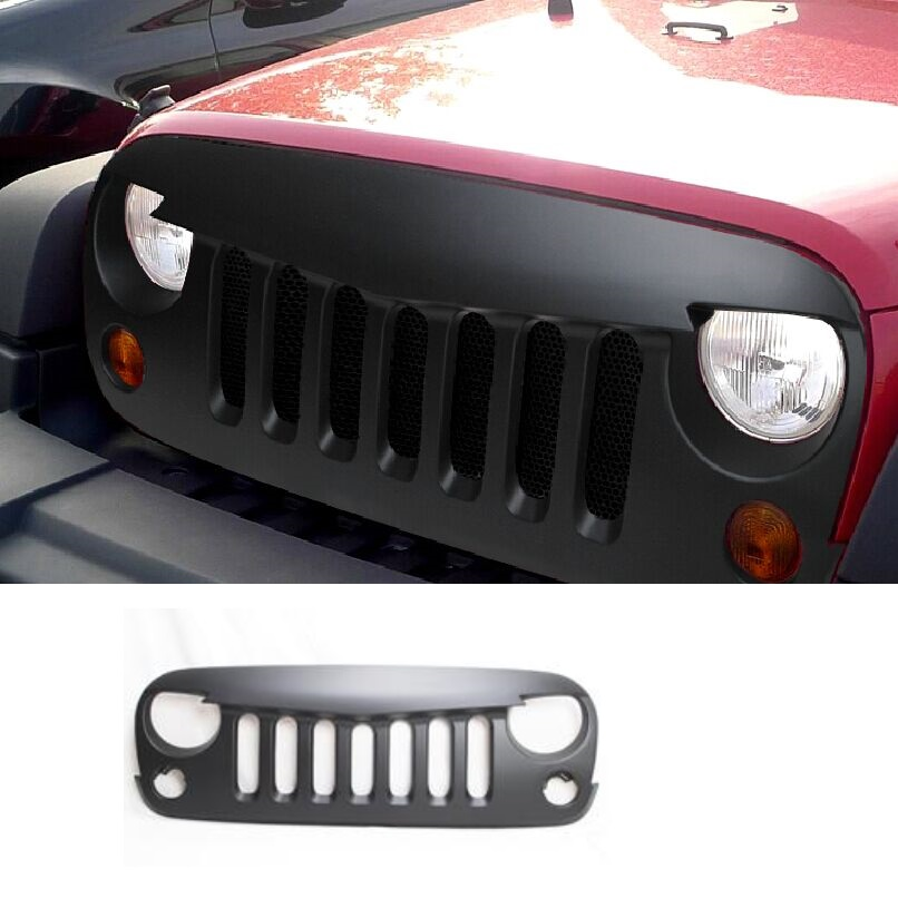 1 set ADJ034 Black Front Matte Grill Angry Bird Grille Grid For 2007-2017 Jeep Wrangler Rubicon Sahara Freedom Sport JK free shipping front center grill grid grille cover trim for 2014 2016 for toyota corolla
