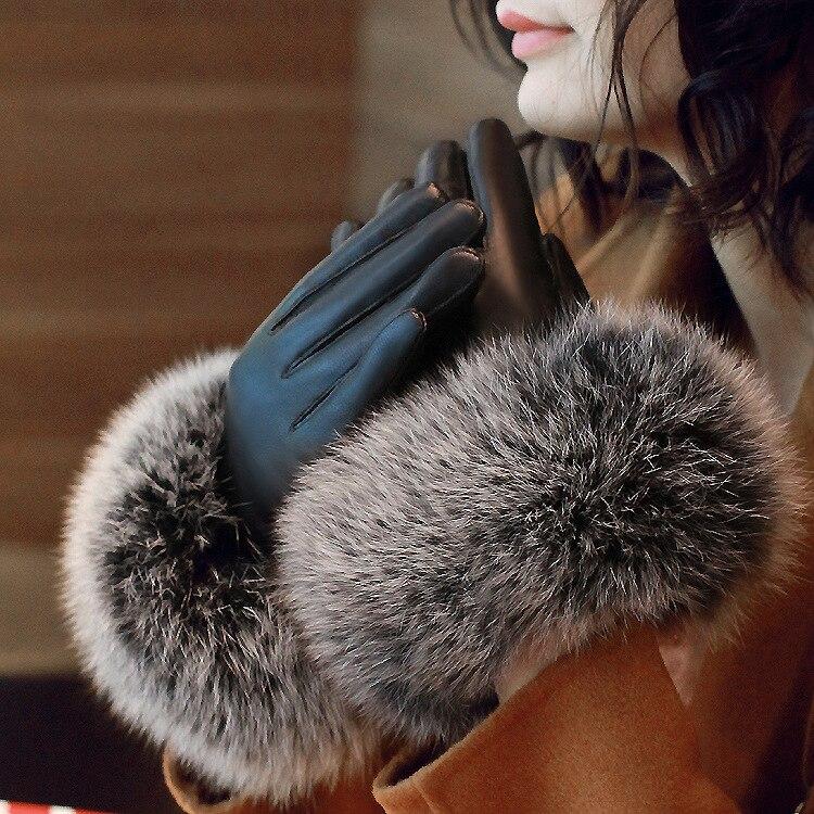 A98 nouvelle mode véritable en cuir gants d'hiver garder au chaud Fourrure De renard peau de Mouton En Cuir Gants Femmes Mitaines