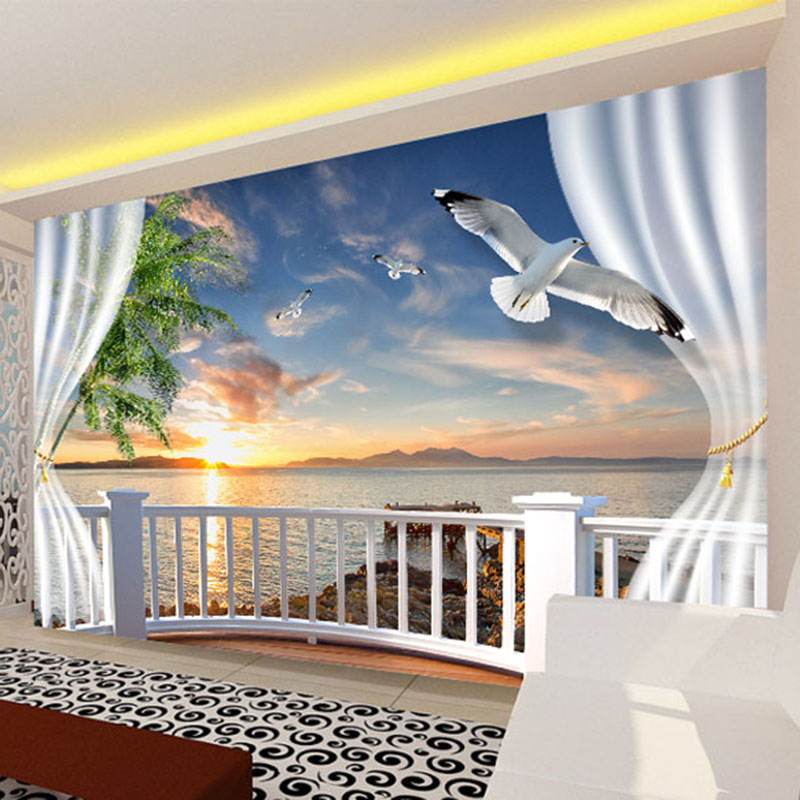 Custom Photo Wall Paper 3D Balcony Curtains Sunset Seascape Wall Papers Home Decor Living Room Sofa TV Backdrop Mural Wallpaper