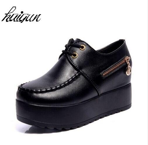 2017 New Black White Hidden Wedge Heels Fashion Women's Elevator Shoes PU Casual Shoes For Women Wedge heel Platform shoes цены онлайн