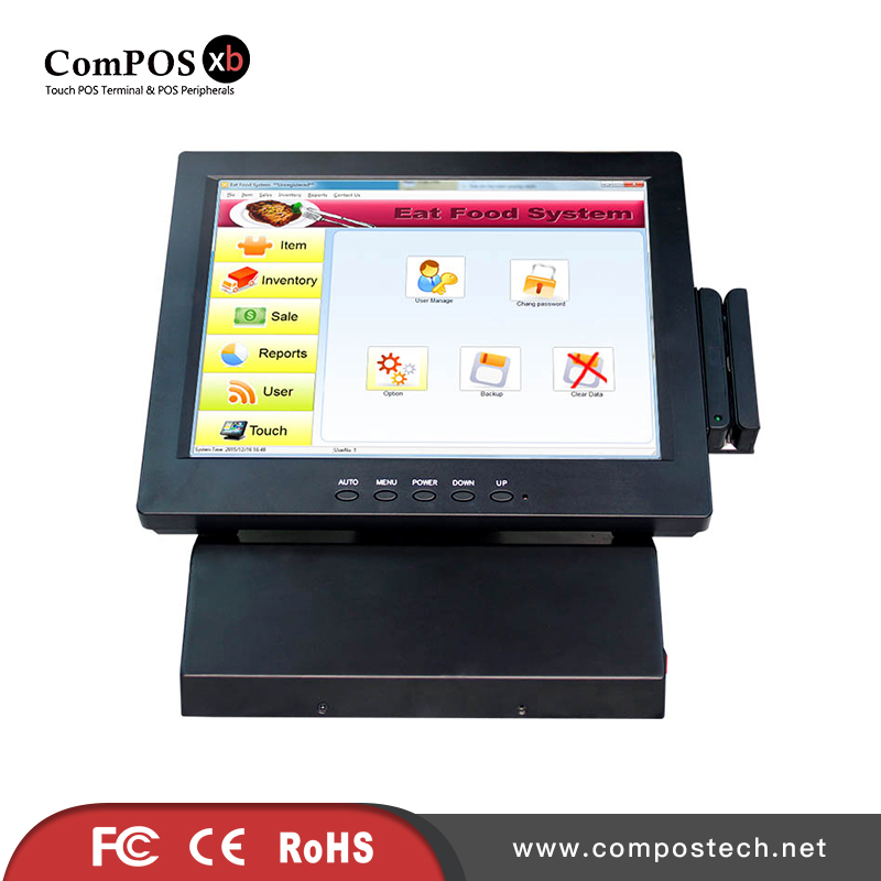 Convenience store  restaurant dedicated pos terminal, cheap 12 inch pos system liquid crystal touch membrane all in one pc