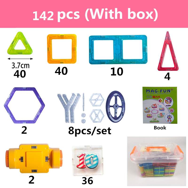 Image 4 - 142Pcs Mini Magnetic Designer Plastic Magnetic Blocks Construction Set Model & Building Toy Educational Toys Kids Gift With Box-in Blocks from Toys & Hobbies