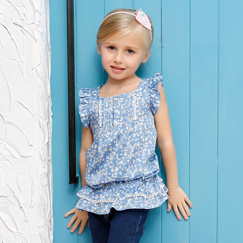 90-150 Baby Girl Summer Style T-Shirts 2016 Brand Girls Tops Tees Children Floral Print T-Shirts Children Noble Clothes