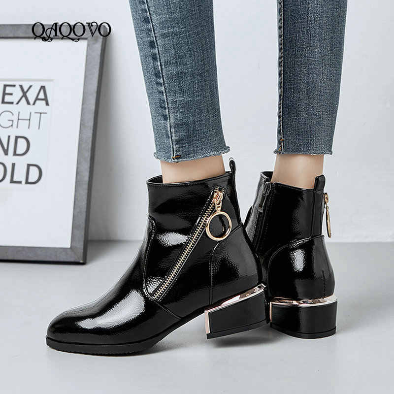 07dbf9416 2019 Spring Autumn Fashion Zipper Ankle Boots Women Comfortable Square Low  Heel Boots Sexy Patent Leather